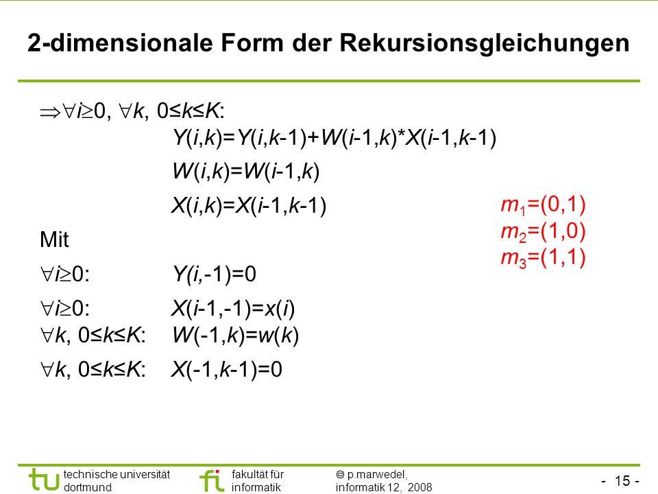 - 15 - technische universität dortmund fakultät für informatik p.marwedel, informatik 12, 2008 2-dimensionale Form der Rekursionsgleichungen i 0, k, 0