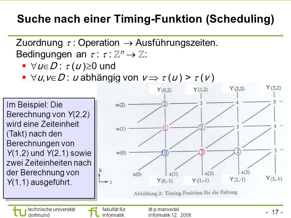 - 17 - technische universität dortmund fakultät für informatik p.marwedel, informatik 12, 2008 Suche nach einer Timing-Funktion (Scheduling) Zuordnung