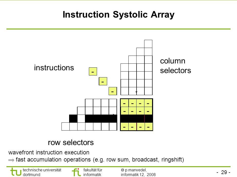 - 29 - technische universität dortmund fakultät für informatik p.marwedel, informatik 12, 2008 Instruction Systolic Array + row selectors column selec