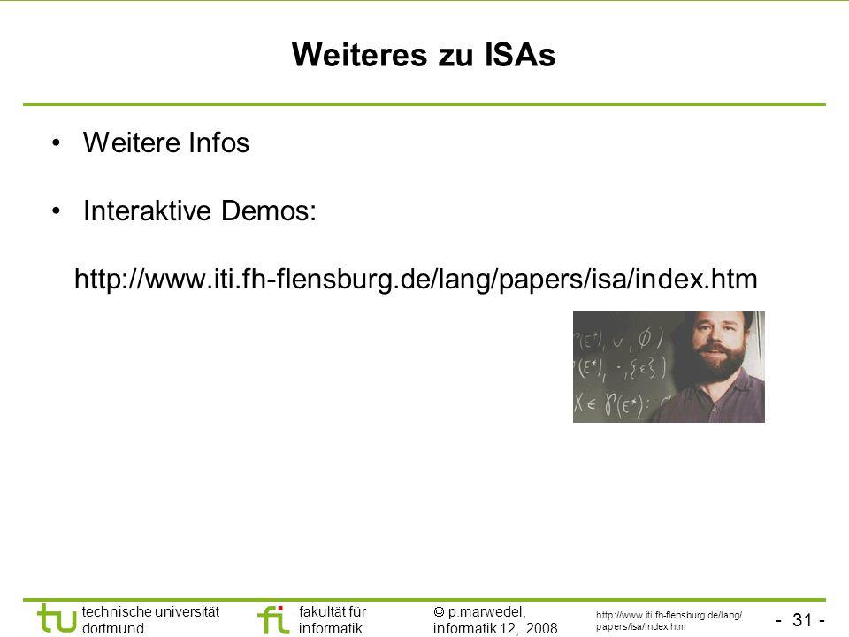 - 31 - technische universität dortmund fakultät für informatik p.marwedel, informatik 12, 2008 Weiteres zu ISAs Weitere Infos Interaktive Demos: http: