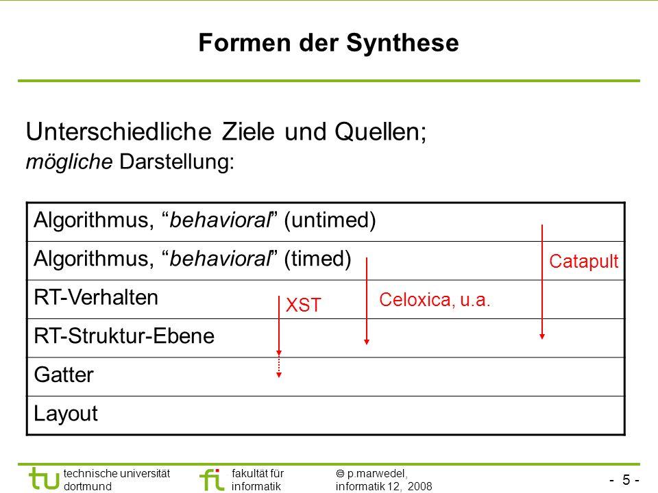 - 5 - technische universität dortmund fakultät für informatik p.marwedel, informatik 12, 2008 Formen der Synthese Algorithmus, behavioral (untimed) Al