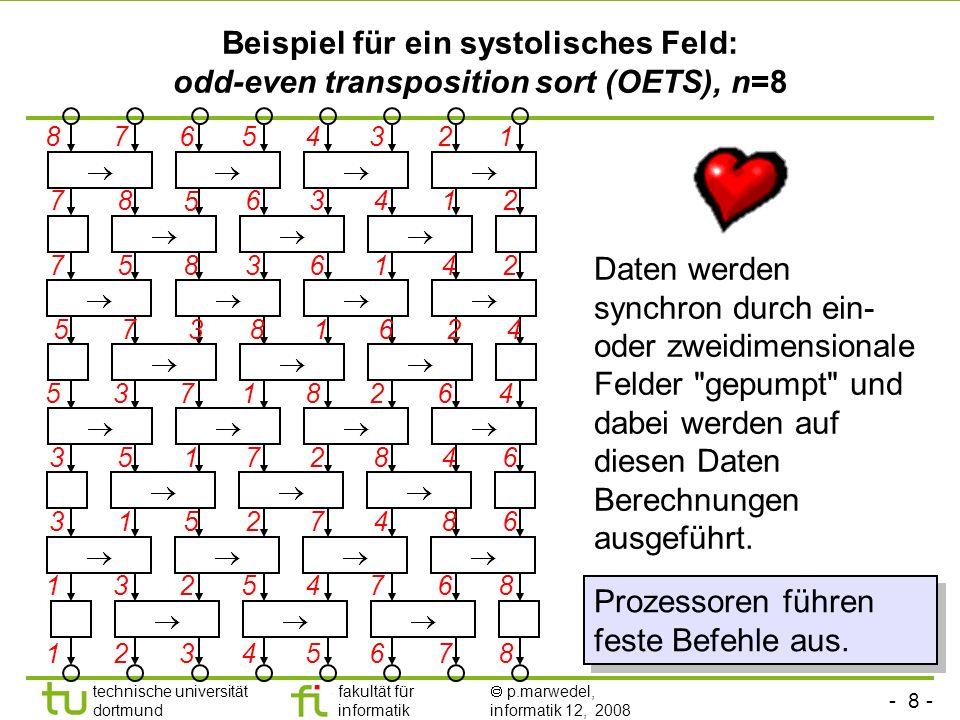 - 8 - technische universität dortmund fakultät für informatik p.marwedel, informatik 12, 2008 Beispiel für ein systolisches Feld: odd-even transpositi