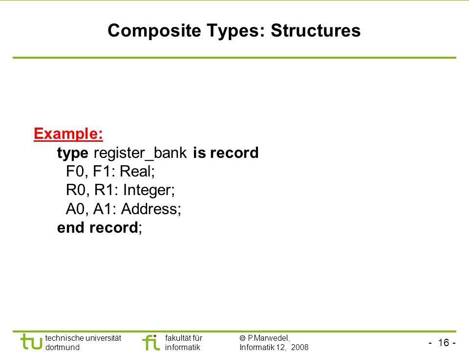 - 16 - technische universität dortmund fakultät für informatik P.Marwedel, Informatik 12, 2008 Universität Dortmund Composite Types: Structures Exampl