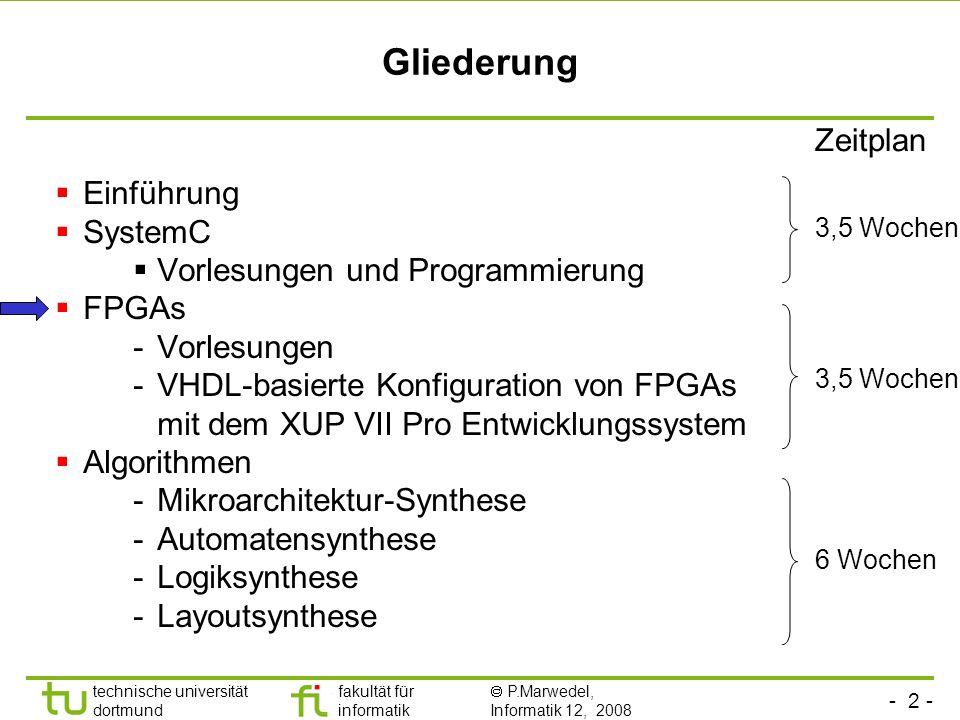 - 2 - technische universität dortmund fakultät für informatik P.Marwedel, Informatik 12, 2008 Universität Dortmund Gliederung Einführung SystemC Vorle
