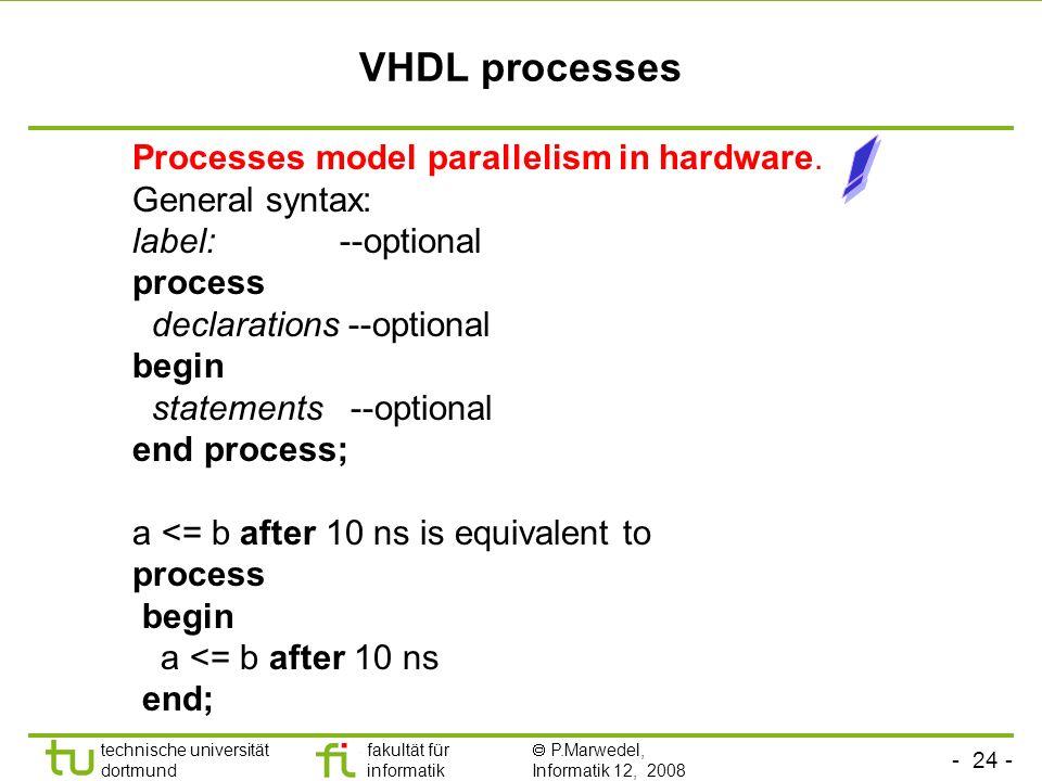 - 24 - technische universität dortmund fakultät für informatik P.Marwedel, Informatik 12, 2008 Universität Dortmund VHDL processes Processes model par