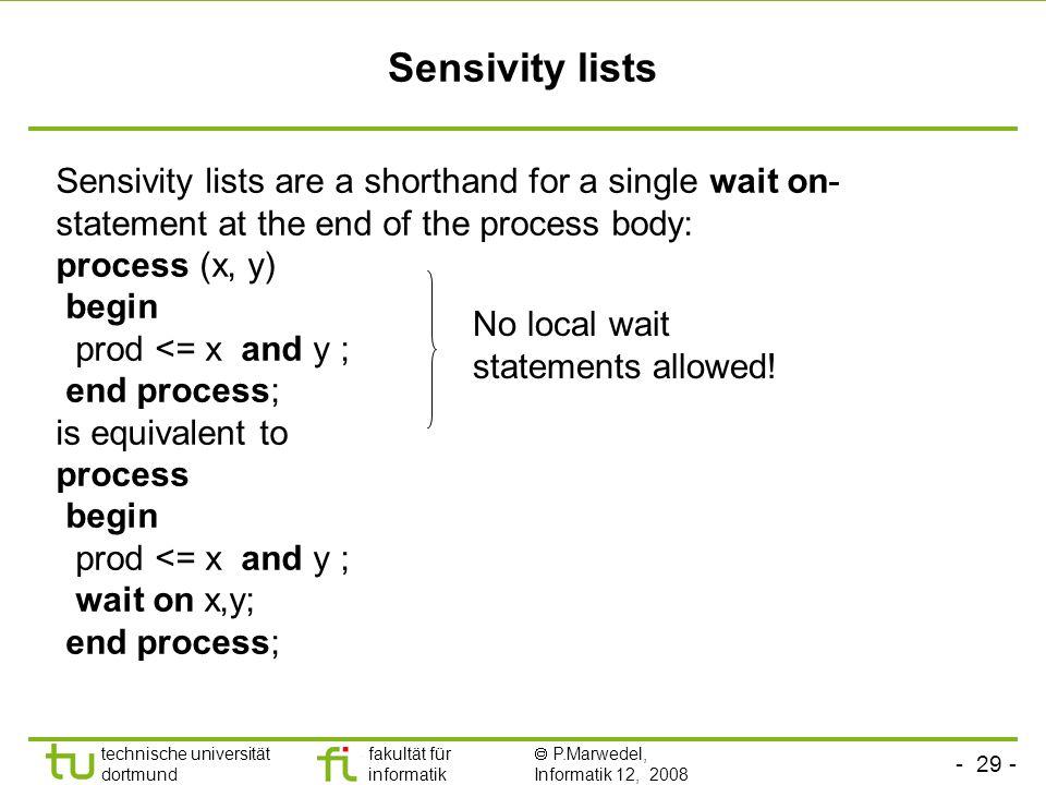 - 29 - technische universität dortmund fakultät für informatik P.Marwedel, Informatik 12, 2008 Universität Dortmund Sensivity lists Sensivity lists ar