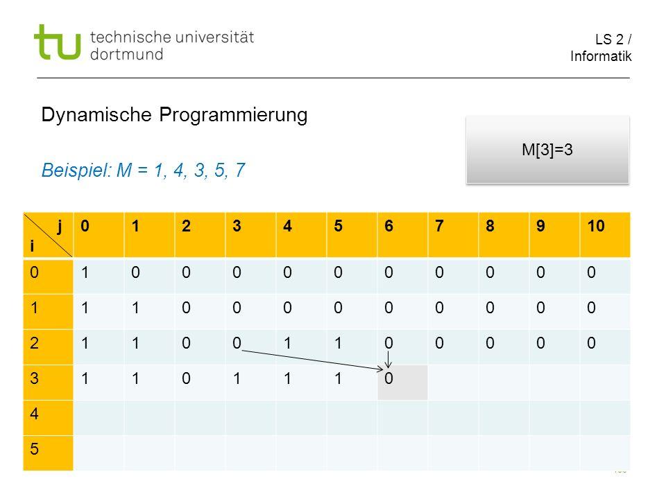 LS 2 / Informatik 100 Dynamische Programmierung Beispiel: M = 1, 4, 3, 5, 7 j i 012345678910 010000000000 111000000000 211001100000 31101110 4 5 M[3]=3