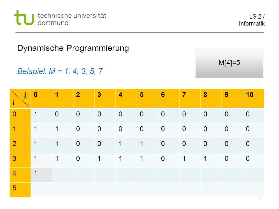 LS 2 / Informatik 103 Dynamische Programmierung Beispiel: M = 1, 4, 3, 5, 7 j i 012345678910 010000000000 111000000000 211001100000 311011101100 41 5 M[4]=5