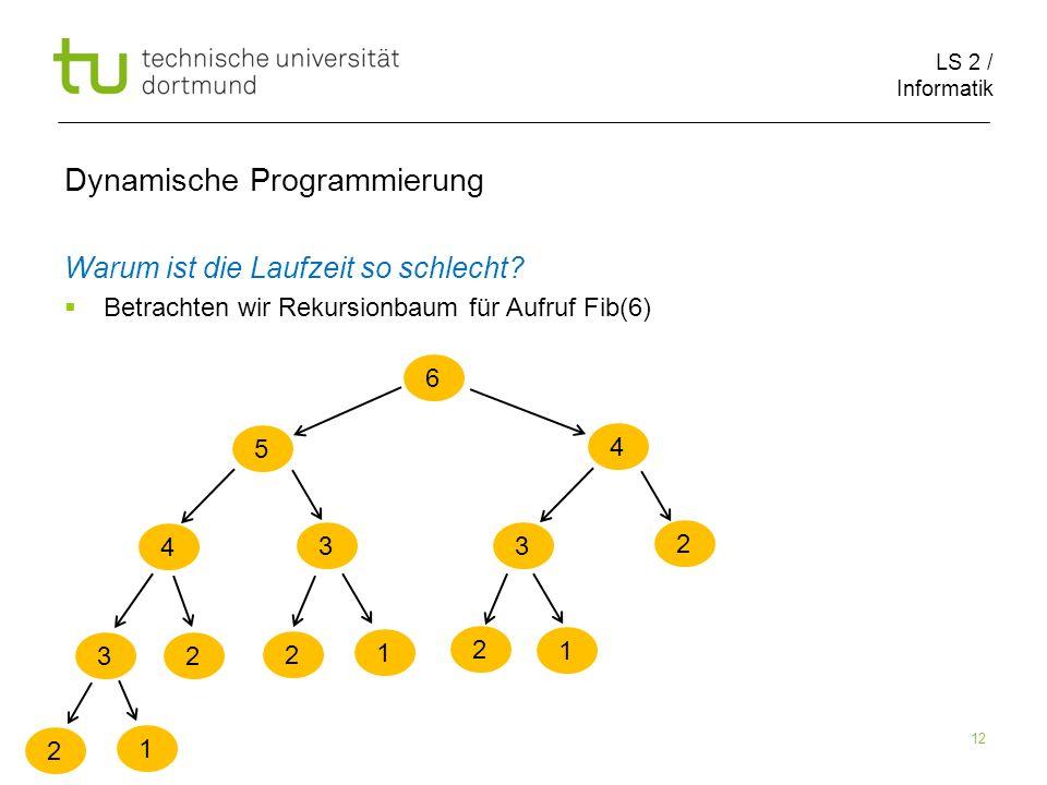 LS 2 / Informatik 12 Dynamische Programmierung Warum ist die Laufzeit so schlecht.