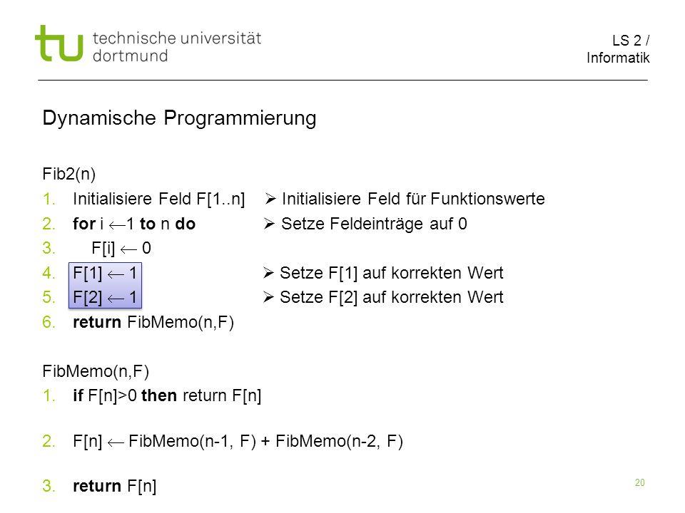 LS 2 / Informatik 20 Dynamische Programmierung Fib2(n) 1.