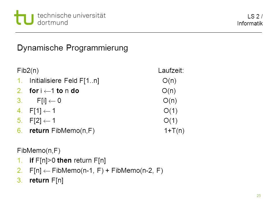 LS 2 / Informatik 25 Dynamische Programmierung Fib2(n) Laufzeit: 1.