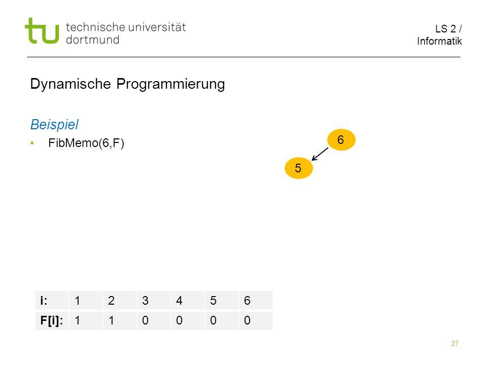 LS 2 / Informatik 27 Dynamische Programmierung Beispiel FibMemo(6,F) 6 5 i:123456 F[i]:110000