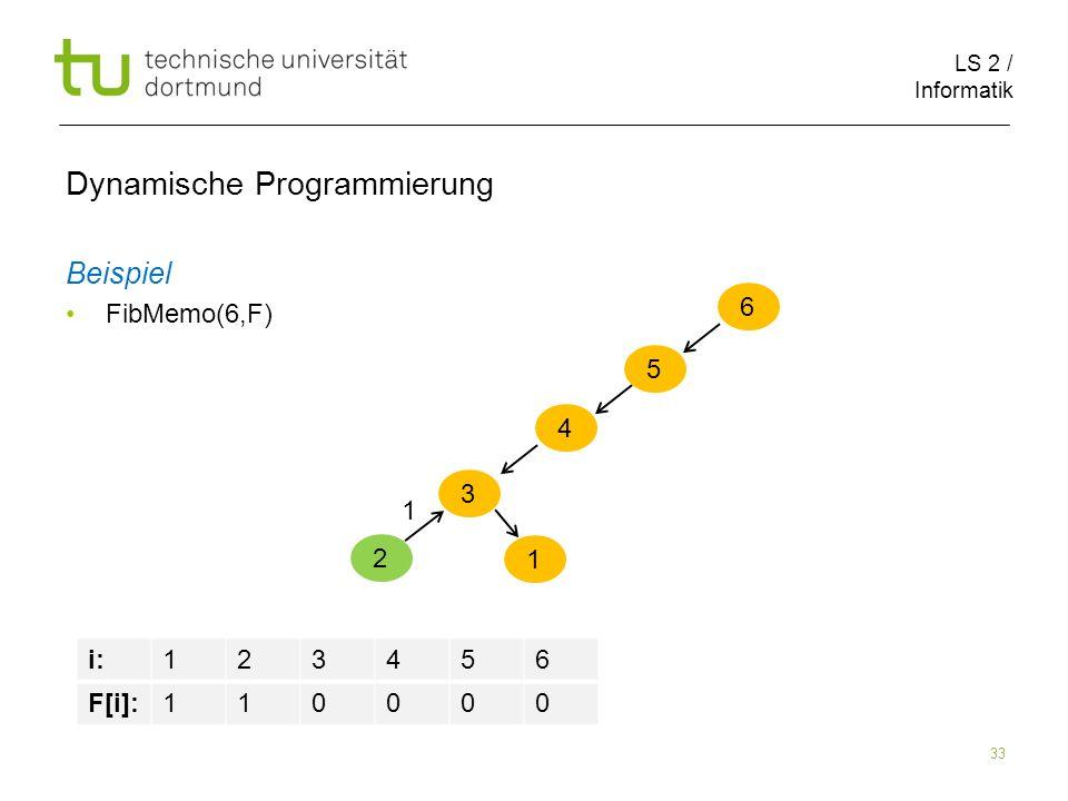 LS 2 / Informatik 33 Dynamische Programmierung Beispiel FibMemo(6,F) 6 5 i:123456 F[i]:110000 4 3 2 1 1