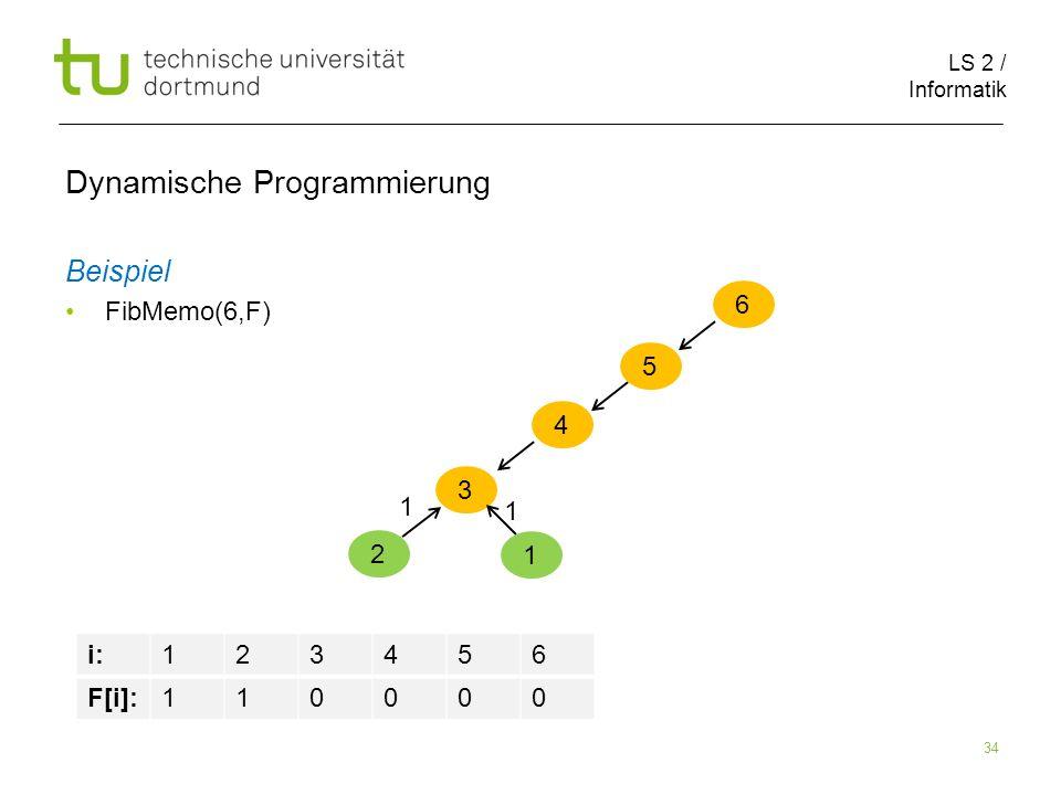 LS 2 / Informatik 34 Dynamische Programmierung Beispiel FibMemo(6,F) 6 5 i:123456 F[i]:110000 4 3 2 1 1 1