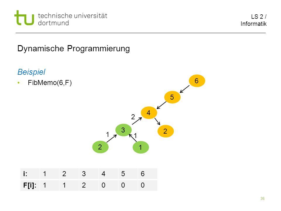LS 2 / Informatik 36 Dynamische Programmierung Beispiel FibMemo(6,F) 6 5 i:123456 F[i]:112000 4 3 2 1 1 1 2 2