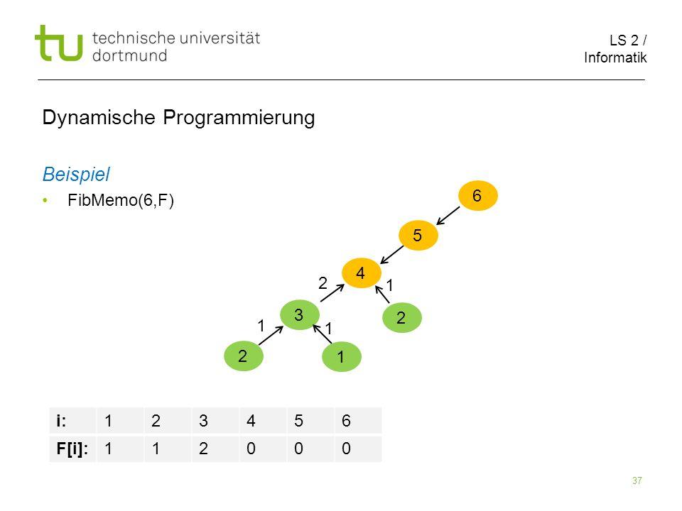 LS 2 / Informatik 37 Dynamische Programmierung Beispiel FibMemo(6,F) 6 5 i:123456 F[i]:112000 4 3 2 1 1 1 2 2 1