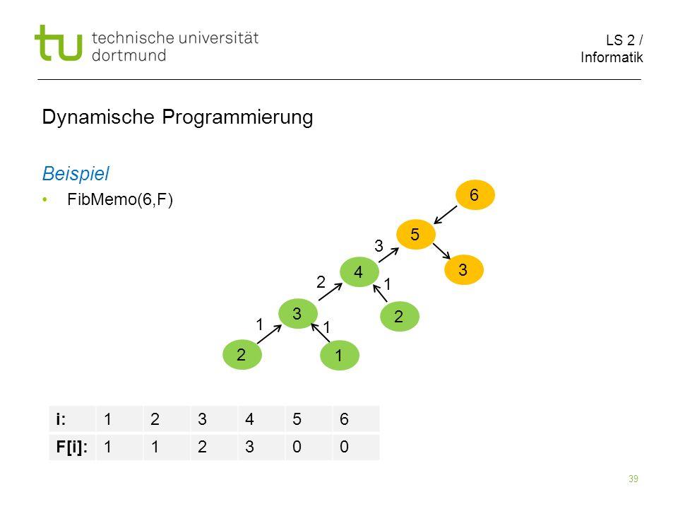 LS 2 / Informatik 39 Dynamische Programmierung Beispiel FibMemo(6,F) 6 5 i:123456 F[i]:112300 4 3 2 1 1 1 2 2 1 3 3