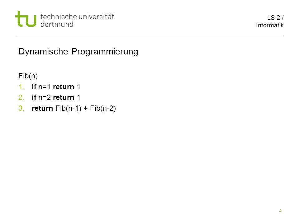 LS 2 / Informatik 4 Dynamische Programmierung Fib(n) 1.