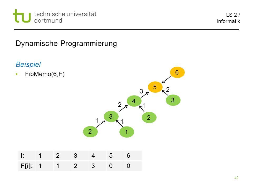 LS 2 / Informatik 40 Dynamische Programmierung Beispiel FibMemo(6,F) 6 5 i:123456 F[i]:112300 4 3 2 1 1 1 2 2 1 3 3 2