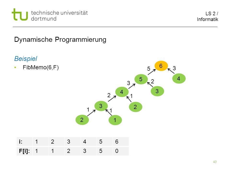 LS 2 / Informatik 43 Dynamische Programmierung Beispiel FibMemo(6,F) 6 5 i:123456 F[i]:112350 4 3 2 1 1 1 2 2 1 3 3 2 5 4 3