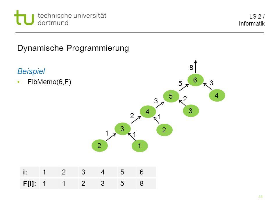 LS 2 / Informatik 44 Dynamische Programmierung Beispiel FibMemo(6,F) 6 5 i:123456 F[i]:112358 4 3 2 1 1 1 2 2 1 3 3 2 5 4 3 8