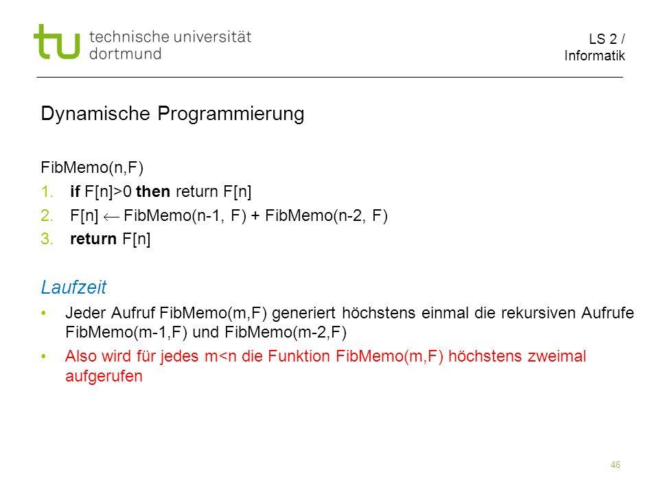 LS 2 / Informatik 46 Dynamische Programmierung FibMemo(n,F) 1.