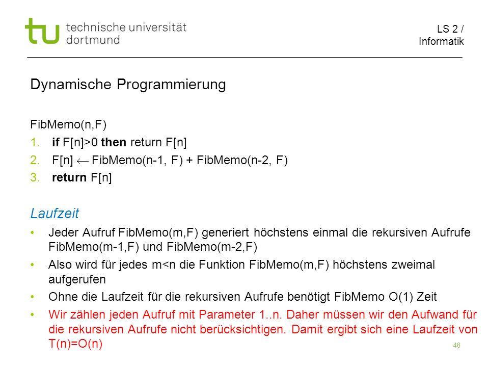 LS 2 / Informatik 48 Dynamische Programmierung FibMemo(n,F) 1.