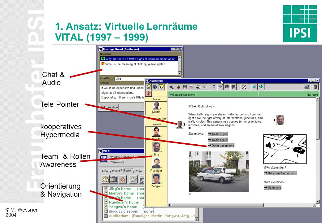 © M. Wessner 2004 4 1. Ansatz: Virtuelle Lernräume VITAL (1997 – 1999) Orientierung & Navigation Team- & Rollen- Awareness Chat & Audio Tele-Pointer k