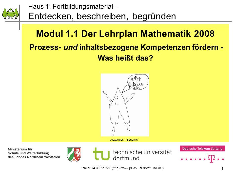 1 Haus 1: Fortbildungsmaterial – Entdecken, beschreiben, begründen Modul 1.1 Der Lehrplan Mathematik 2008 Prozess- und inhaltsbezogene Kompetenzen för