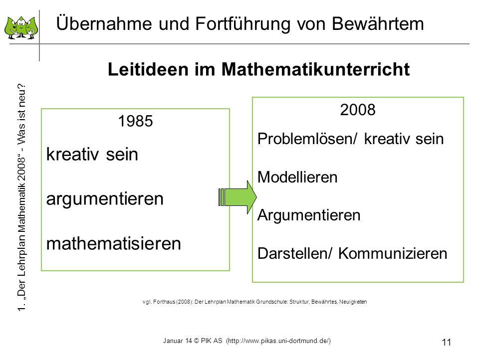 11 Übernahme und Fortführung von Bewährtem Leitideen im Mathematikunterricht 2008 Problemlösen/ kreativ sein Modellieren Argumentieren Darstellen/ Kom