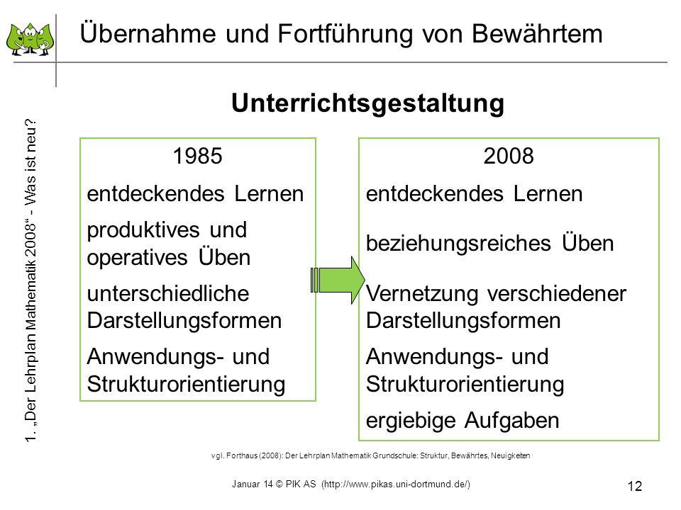 12 Übernahme und Fortführung von Bewährtem Unterrichtsgestaltung 1985 entdeckendes Lernen produktives und operatives Üben unterschiedliche Darstellung