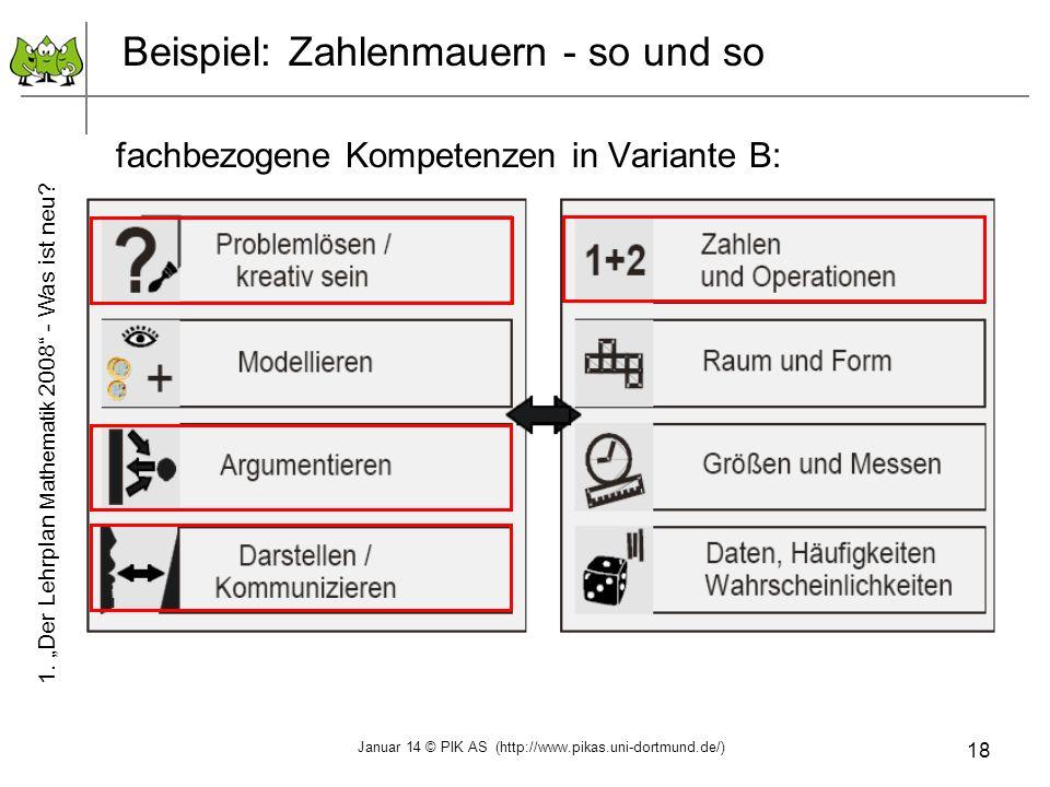18 Beispiel: Zahlenmauern - so und so fachbezogene Kompetenzen in Variante B: 1. Der Lehrplan Mathematik 2008 - Was ist neu? Januar 14 © PIK AS (http: