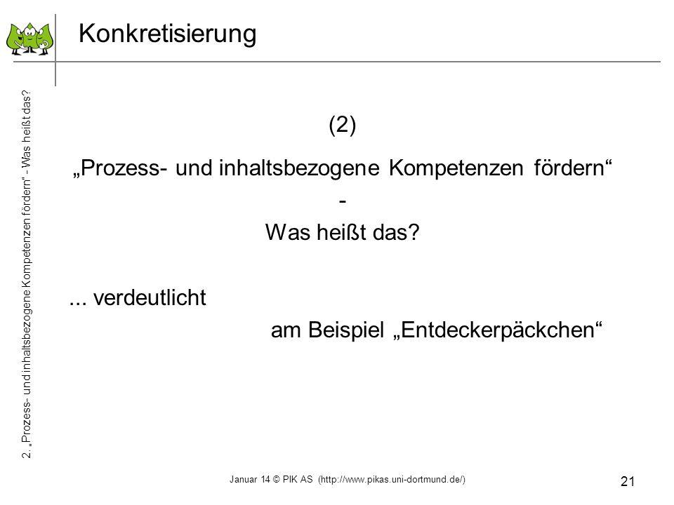 21 Konkretisierung (2) Prozess- und inhaltsbezogene Kompetenzen fördern - Was heißt das?... verdeutlicht am Beispiel Entdeckerpäckchen 2. Prozess- und