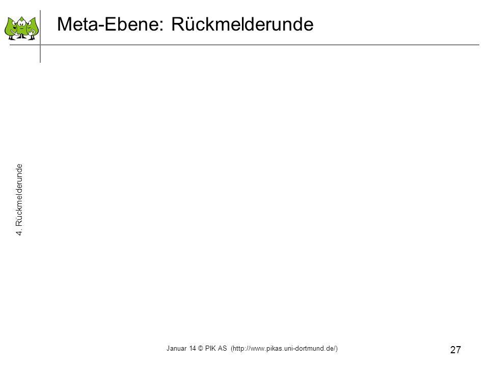 27 Meta-Ebene: Rückmelderunde 4. Rückmelderunde Januar 14 © PIK AS (http://www.pikas.uni-dortmund.de/)