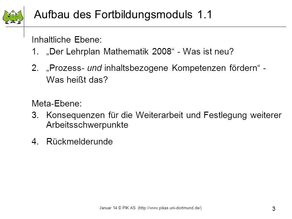 3 Aufbau des Fortbildungsmoduls 1.1 Inhaltliche Ebene: 1.Der Lehrplan Mathematik 2008 - Was ist neu? 2.Prozess- und inhaltsbezogene Kompetenzen förder