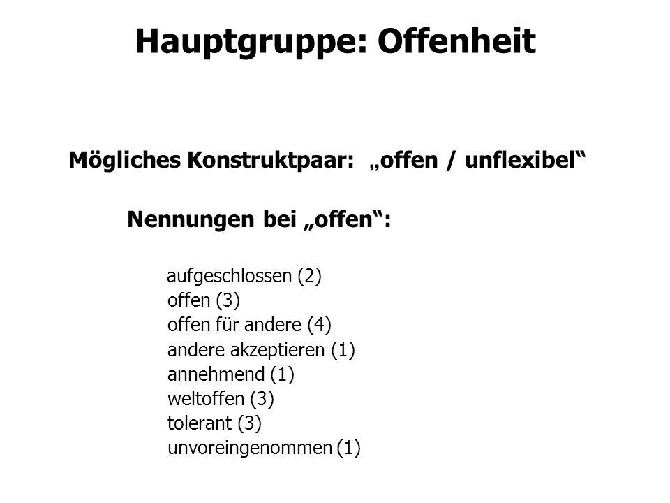 Hauptgruppe: Offenheit Mögliches Konstruktpaar: offen / unflexibel Nennungen bei offen: aufgeschlossen (2) offen (3) offen für andere (4) andere akzep
