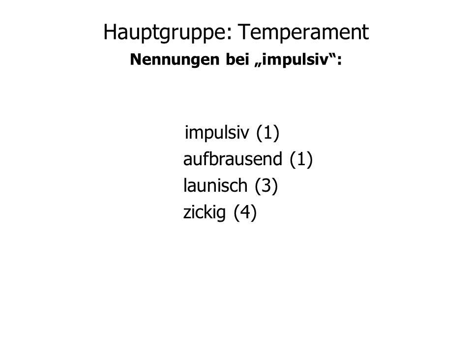 Hauptgruppe: Temperament Nennungen bei impulsiv: impulsiv (1) aufbrausend (1) launisch (3) zickig (4)