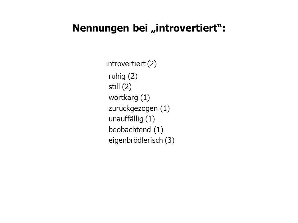 Nennungen bei introvertiert: introvertiert (2) ruhig (2) still (2) wortkarg (1) zurückgezogen (1) unauffällig (1) beobachtend (1) eigenbrödlerisch (3)