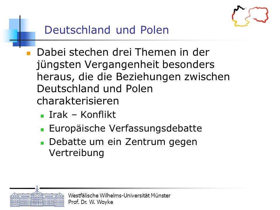 Westfälische Wilhelms-Universität Münster Prof. Dr. W. Woyke Deutschland und Polen Dabei stechen drei Themen in der jüngsten Vergangenheit besonders h