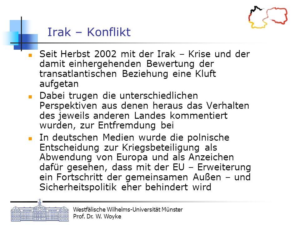 Westfälische Wilhelms-Universität Münster Prof. Dr. W. Woyke Irak – Konflikt Seit Herbst 2002 mit der Irak – Krise und der damit einhergehenden Bewert