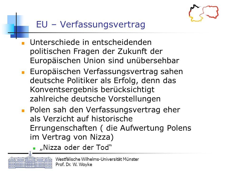 Westfälische Wilhelms-Universität Münster Prof. Dr. W. Woyke EU – Verfassungsvertrag Unterschiede in entscheidenden politischen Fragen der Zukunft der
