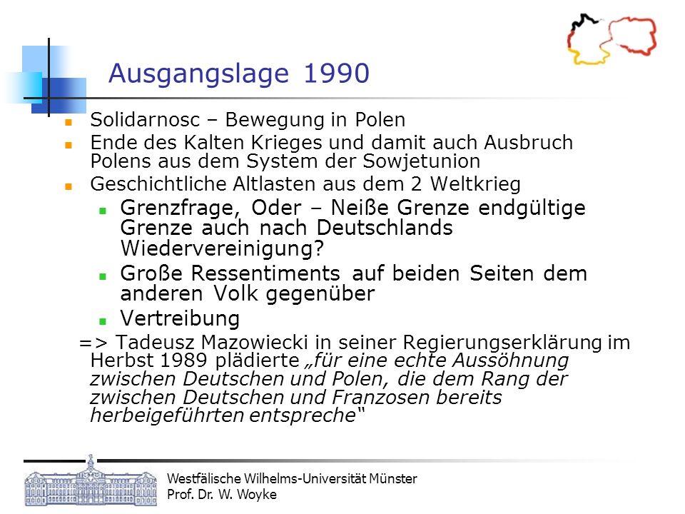 Westfälische Wilhelms-Universität Münster Prof. Dr. W. Woyke Ausgangslage 1990 Solidarnosc – Bewegung in Polen Ende des Kalten Krieges und damit auch