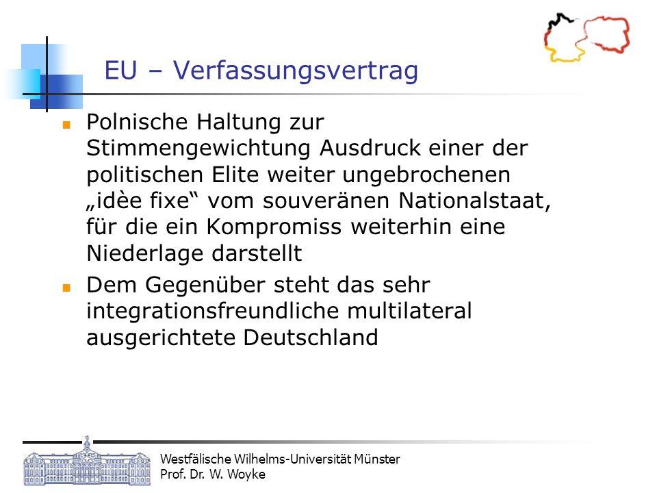 Westfälische Wilhelms-Universität Münster Prof. Dr. W. Woyke EU – Verfassungsvertrag Polnische Haltung zur Stimmengewichtung Ausdruck einer der politi