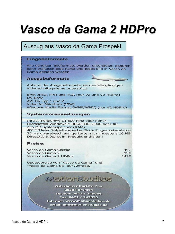 Vasco da Gama 2 HDPro7 Auszug aus Vasco da Gama Prospekt