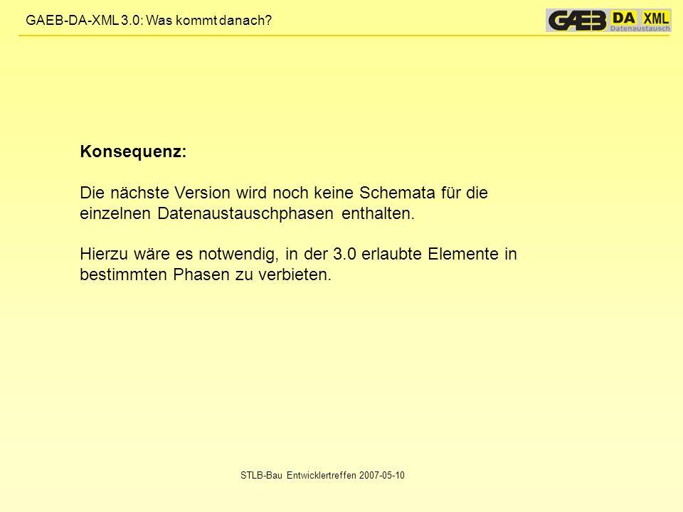 GAEB-DA-XML 3.0: Was kommt danach? STLB-Bau Entwicklertreffen 2007-05-10 Konsequenz: Die nächste Version wird noch keine Schemata für die einzelnen Da