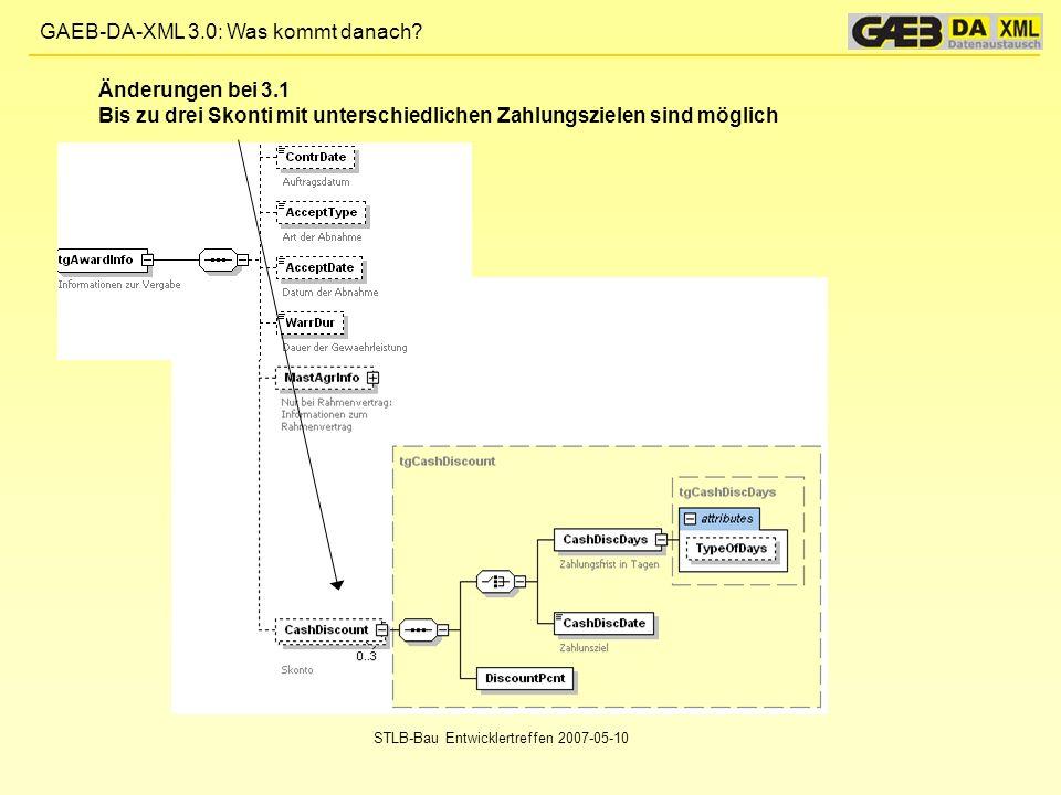 GAEB-DA-XML 3.0: Was kommt danach? STLB-Bau Entwicklertreffen 2007-05-10 Änderungen bei 3.1 Bis zu drei Skonti mit unterschiedlichen Zahlungszielen si