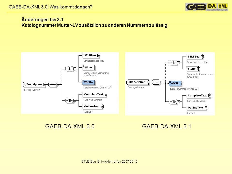 GAEB-DA-XML 3.0: Was kommt danach? STLB-Bau Entwicklertreffen 2007-05-10 GAEB-DA-XML 3.0GAEB-DA-XML 3.1 Änderungen bei 3.1 Katalognummer Mutter-LV zus