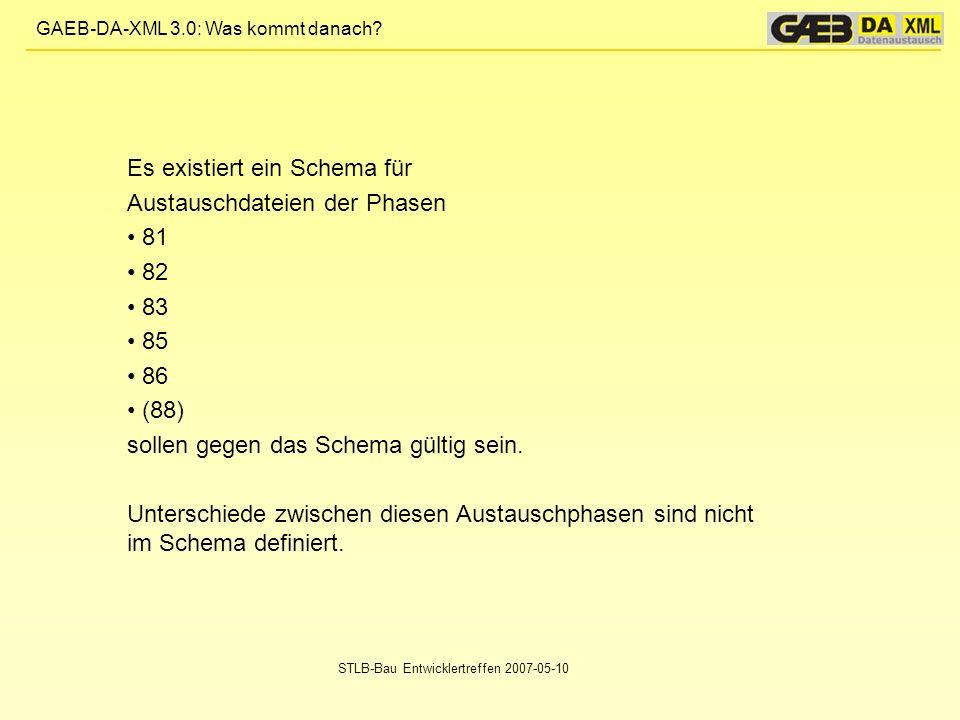 GAEB-DA-XML 3.0: Was kommt danach? STLB-Bau Entwicklertreffen 2007-05-10 Es existiert ein Schema für Austauschdateien der Phasen 81 82 83 85 86 (88) s