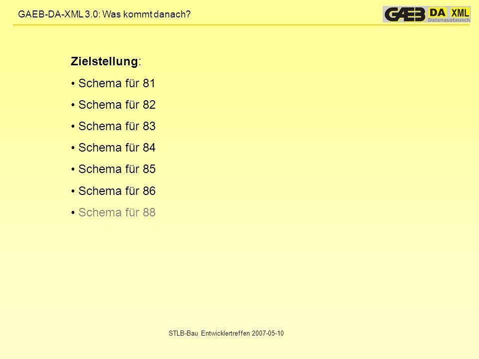 GAEB-DA-XML 3.0: Was kommt danach? STLB-Bau Entwicklertreffen 2007-05-10 Zielstellung: Schema für 81 Schema für 82 Schema für 83 Schema für 84 Schema