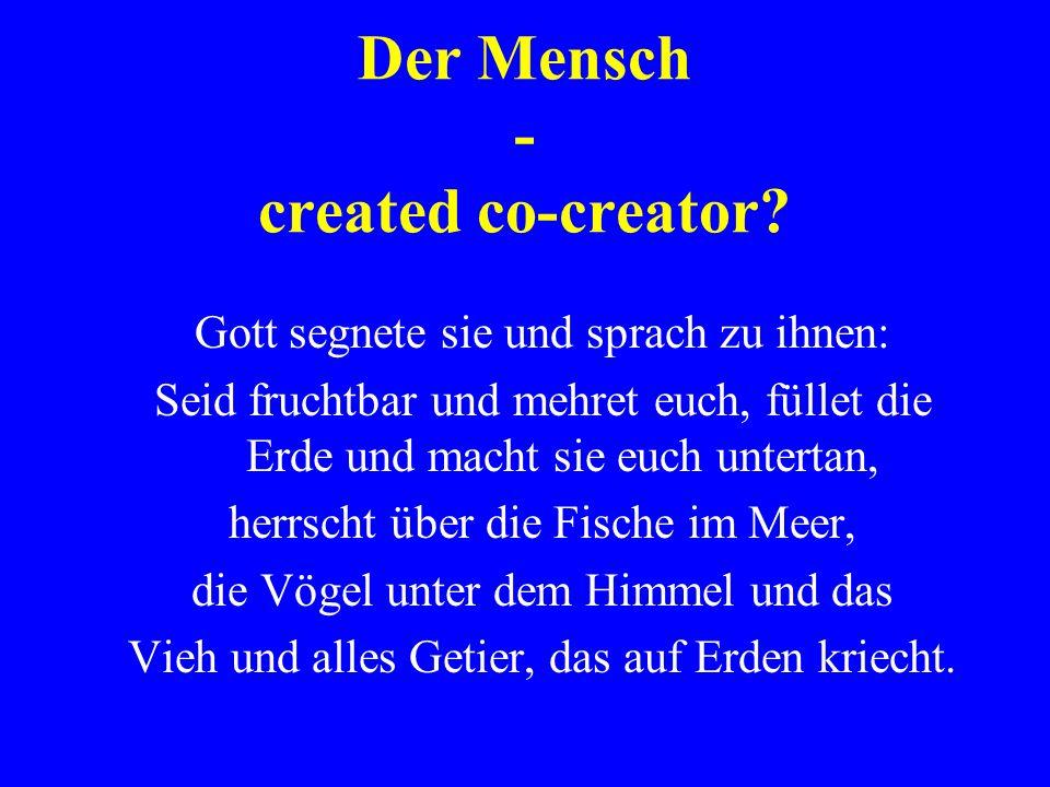 Der Mensch - created co-creator? Gott segnete sie und sprach zu ihnen: Seid fruchtbar und mehret euch, füllet die Erde und macht sie euch untertan, he
